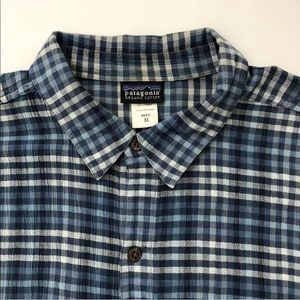 PATAGONIA SHIRT BLUE PLAID ORGANIC COTTON MENS XL